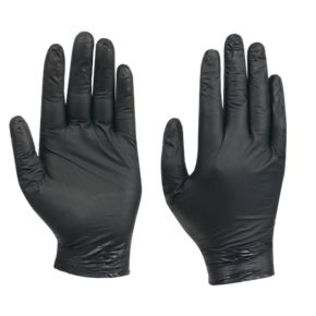 BLACK NITRILE GLOVES POWDERFREE