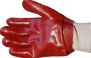 RED PVC GLOVE WITH KNIT BAND