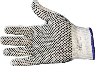 GLOVES DOTTED BLACK ON GREY SIZE 8 X 12PR