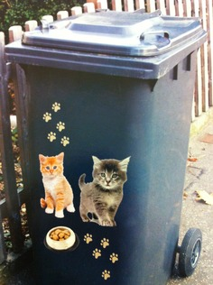 WHEELIE BIN STICKER CAT