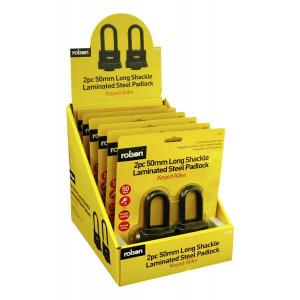 2PC 50MM LONG SHACKLE PADLOCK