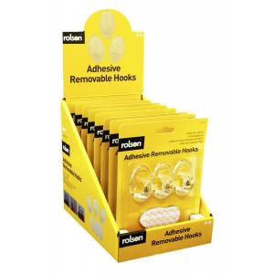 3PC TRANSPARENT REMOVABLE ADHESIVE HOOK