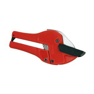 RATCHETING PVC PIPE CUTTER WITH SQUARE PIPE ANVIL PAD